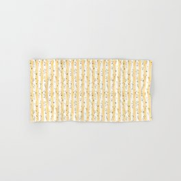 Buttercup Yellow Flower Blossoms on Butter Yellow Streaky Stripes Hand & Bath Towel