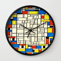 mondrian Wall Clocks featuring Mondrian by PureVintageLove