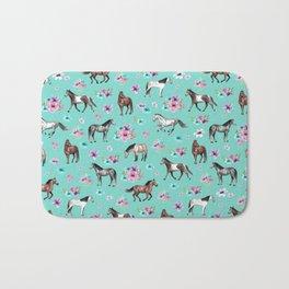 Hand drawn horses, Flower horses, Floral Pattern, Aqua Blue Bath Mat