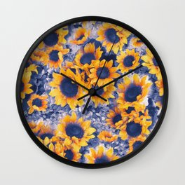 Sunflowers Blue Wall Clock