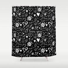 Black love Shower Curtain