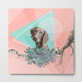 Eclectic Geometric Redbone Coonhound Dog Metal Print