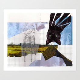a cat. a skeleton. and a landscape.  Art Print