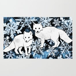 Foxes & Flakes (Blue Version) Rug
