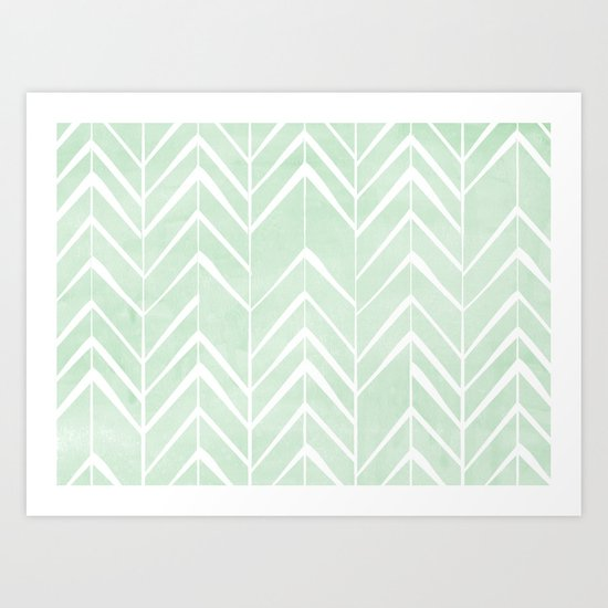 Mint Chevron Arrows Art Print