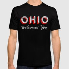 Vintage Ohio Welcome Sign Mens Fitted Tee Black SMALL