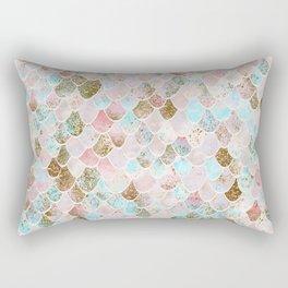 Wonky Watercolor Sea Foam Glitter Mermaid Scales Rectangular Pillow