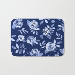 Hand painted navy blue white watercolor floral roses pattern Bath Mat