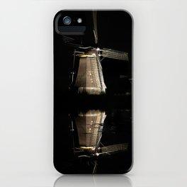 Floating illuminated windmills in the night iPhone Case