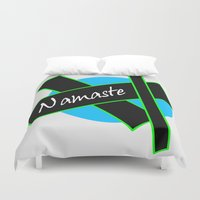 namaste Duvet Covers featuring Namaste by PizazzZ People Designs