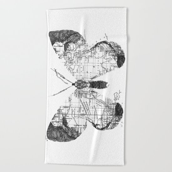 Butterfly Wanderlust Black and White Beach Towel
