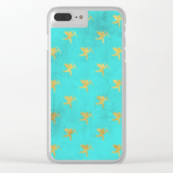 Gold Angels on aqua backround- pattern Clear iPhone Case