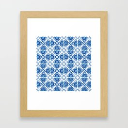 Vintage shabby Chic Seamless pattern with blue flowers and leaves Framed Art Print