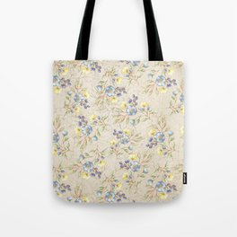 Vintage ivory linen blue yellow gold floral pattern Tote Bag