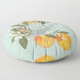 Positive vibes. Inspirational quote with oranges. Summer poster Floor Pillow