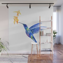 WATERCOLOR HUMMINGBIRD AND FLOWERS Wall Mural