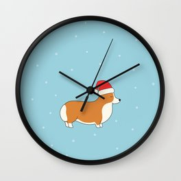 Santa Corgi Wall Clock