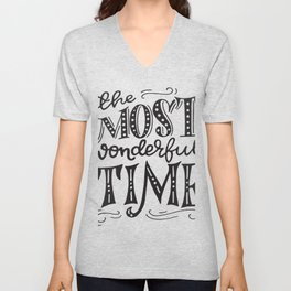 The most wonderful time retro typography Unisex V-Neck