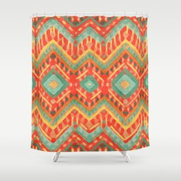itzel - orange + green Shower Curtain
