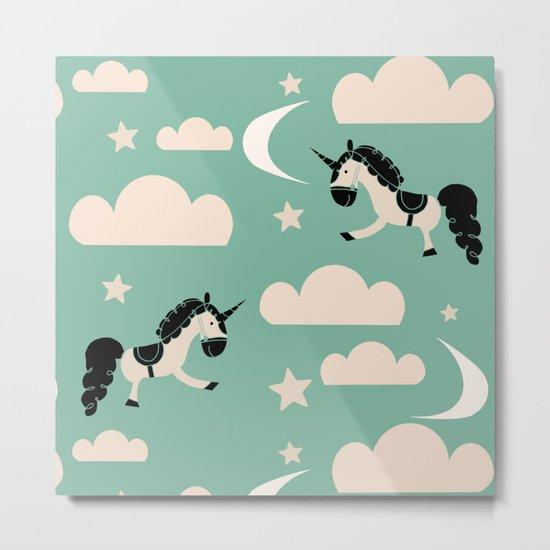 Unicorn green Metal Print