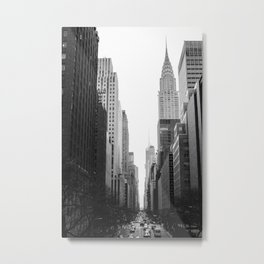 Streets of New York b&w Metal Print