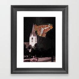 Hometown church is flying Framed Art Print
