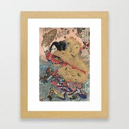 Samurai Japanese Woodblock Print by Utagawa Kuniyoshi Framed Art Print