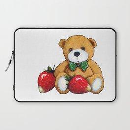 Teddy Bear With Strawberries, Illustration Laptop Sleeve