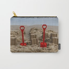 sandcastles and red spades on the beach Carry-All Pouch