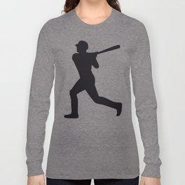 Baseball Player Silhouette - Pattern - Black Long Sleeve T-shirt