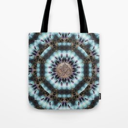 Om Shanti Fractal Geometry [ earthy aqua remix ] Tote Bag