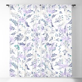 Botanical navy blue lilac watercolor summer floral Blackout Curtain