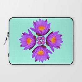 Purple Lily Flower - On Aqua Blue Laptop Sleeve