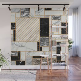 Random Pattern - Black and White Marble Wall Mural