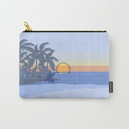 Big Sunset Hawaiian Surfer Striped Scenic Carry-All Pouch