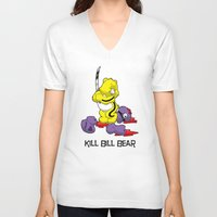 kill bill V-neck T-shirts featuring Kill Bill Bear by Andrew Mark Hunter