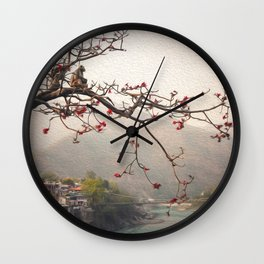 Monkey over River Ganga, India Wall Clock