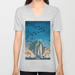 'Flock of Birds and Wild Flowers' magical realism portrait painting by Kay Nielsen Unisex V-Neck