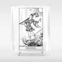 The Fool: Black and White Line Art Shower Curtain