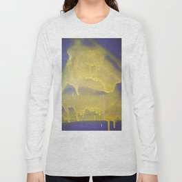 Yellow graffiti stain on gray background ready for picture, clothes, furniture, iphone cases Long Sleeve T-shirt