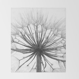 Black and White Dandelion Throw Blanket
