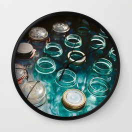 Ball Jars in Blue Wall Clock