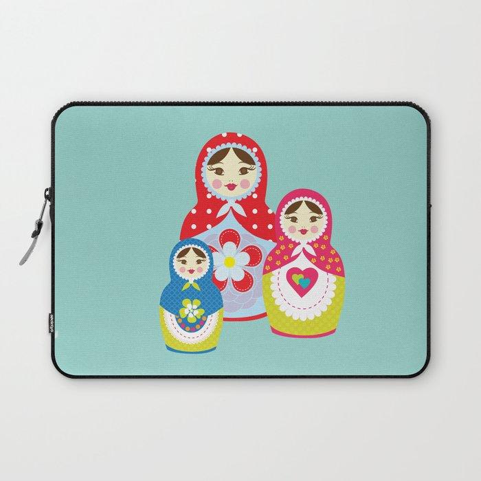 Turquoise babushka , matryoshka , russian doll , nursery decor , children gift, birthday gift Laptop Sleeve