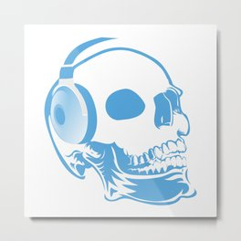 Skull with headphones Metal Print