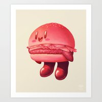 kirby Art Prints featuring Kirby Patty by Vaughn Pinpin