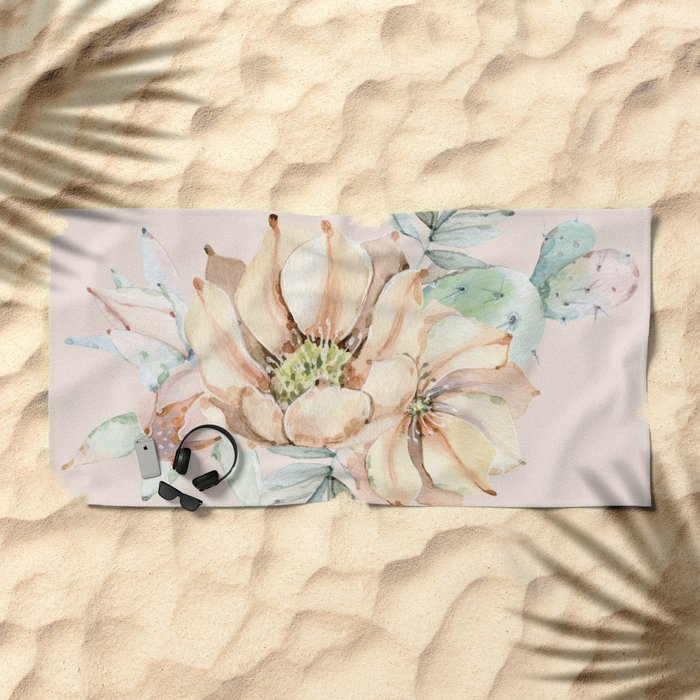 Country Cactus Coral Roses Beach Towel