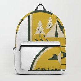 Grand Teton National Park Wyoming Camping Tent Vintage Travel Backpack