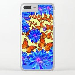 Orange Butterflies Blue  Floral Wreath art Clear iPhone Case