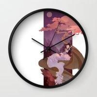 snow white Wall Clocks featuring Snow White by Ann Marcellino