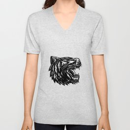Growling Tiger Woodcut Black and White Unisex V-Neck